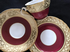 Aynsley burgundy & gilt tea trio